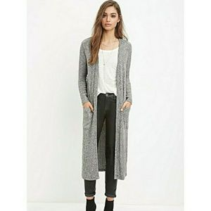 Forever 21 Long Grey Cardigan Duster with pockets